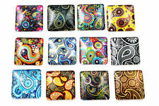 25 mm imprimé carré en verre Cabochons | 8pcs | Assorted Paisley Designs