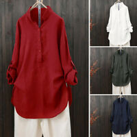 UK Women Cotton Solid Long Sleeve Shirt Casual Loose Blouse Button Down Tops Tee