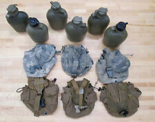 (6) US MILITARY 1QT CANTEENS (3) DIGITAL CAMO / (3) COYOTE BROWN COVERS ~Used~