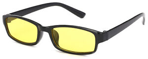 Unisex Slim Anti Glare Glasses Night Driving Yellow Lens + Case Cloth Tortoise