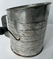 Vintage Bromwell's Five Cup Flour Measuring Sifter With Black Wooden Knob Handle