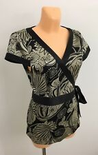 Ladies Mix Black Shiny Large Flowers Casual Summer Wrap Top Blouse Size UK 16