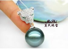 Huge 14mm natural Tahiitna genuine black blue round pearl necklace  pendant