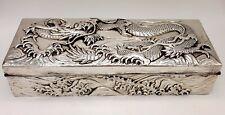 Antique Japanese Sterling Silver Dragon Box Samurai Shokai