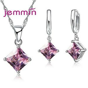 High Quality CZ Crystal Cubic Zirconia Wedding Party Jewelry Set For Women Girls