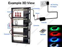 4x 25cm COLOUR CHANGING LED STRIP LIGHTING GLASS CABINET SHELF DISPLAY LIGHT KIT