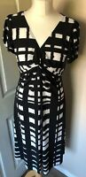 Long Tall Sally Dress Size 12 (small) Black And White Print Occasion Smart Black