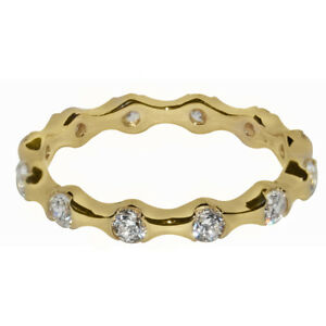 14k Yellow Gold Channel-set Round-cut Cubic Zirconia Eternity Band