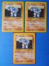 3x Machoke 34/102, 4x Machop 52/102 Pokemon TCG card original base set LP/NM