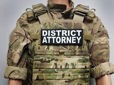 DISTRICT ATTORNEY 3X8 Black Hook Back Morale RAID Patch SWAT POLICE LEO Badge