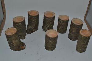 Black Birch Reclaimed Wood Lot of 8 Tea Candle Holders Rustic Primitive Wedding