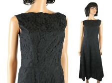 60s Cocktail Dress Sz M Vintage Black Lace Sleeveless Hourglass Low Back Gown