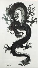 King Horse Dark Grey Dragon Non Glitter Temporary Tattoos #HM419 New Arrival!