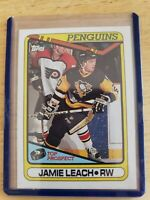 1990 Topps TOP PROSPECT Jamie Leach Pittsburgh Penguins Card #377