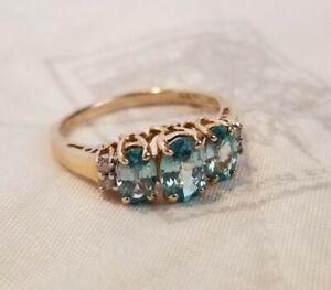 Vintage 14k yellow Gold Aquamarine & Diamond Ring women's size 7.5