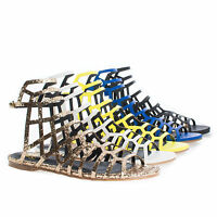 CiciML Open Toe Honeycomb Caged Ankle Flat Sandals