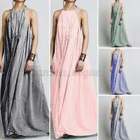 Women Sleeveless Striped Holiday Party Beach Dresses Loose Long Dress Slip Dress
