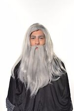 Dumbledore Gandalf Wizard Old Man Wig & Beard Set Hobbit Old Man Halloween