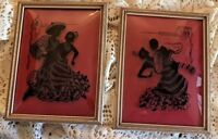 Vintage Prints Flamenco Dancers Black Silhouette Red Clear Convex Glass Frame  2