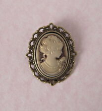 Estilo Vintage Bronce Lady camafeo broche