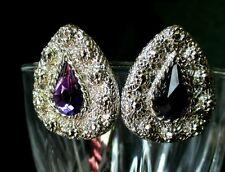 Vintage Purple Earrings Silvertone faux amethyst Pear facet cut clip on chunky