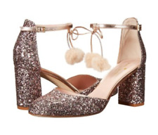 Kate Spade 'Abigail' Rose Gold Glitter/Nappa pumps w/faux-fur pom-pom  6.5  $328