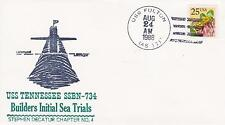 USS TENNESSEE SSBN-734 BUILDERS SEA TRIAL 1988 NAVAL TOPICAL SHIP COVER MILITARY