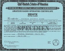 Amateur Radio License Certificate *Ham License Certificate* All Classes