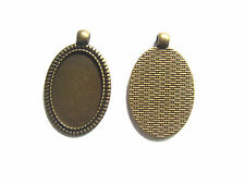5 Antique Bronze Plated Oval Pendant Tray Blanks 20x30mm Cameo Cabochon Setting