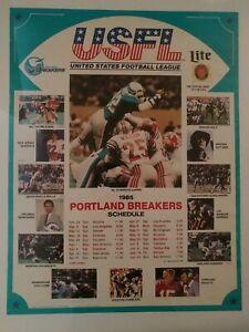 1985 Portland Breakers & Miller Lite Beer Schedule Poster Marcus Dupree USFL