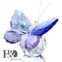 Crystal Butterfly Ball Base Glass Figurine Paperweight Ornament Home Decor Gift
