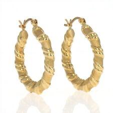 Yellow Gold Ribbon Hoop Earrings - 18k Matte Ribbed Twist Pierced