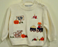 """PUDDLES'N' BUBBLES INFANT BOYS """"ON THE FARM"""" SWEATER SIZE 6 MONTHS NEW WITH TAGS"""
