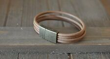 GENUINE LEATHER bracelet link charms natural gift Idea magnetic Tan  Bronze Tone