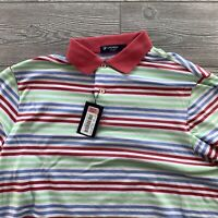 Cremieux Classics Short Sleeve Polo Shirt  Large Striped Red Blue New NWT Summer