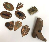 Vtg Western Southwest Cowboy Lot Copper Keychain Charms Elite Shoe Repair boot