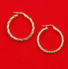 NEW 9ct Yellow Gold Twisted Hoop Earrings 375 Made in Italy 9K Free Shipping Opt