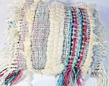 ARTSY Shaggy CREAM Yarn Wool 12x17 Rug PILLOW  Magenta Pink Teal Oblong Fringed