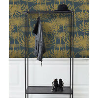 Vintage flowers Removable wallpaper golden and gray wall mural design