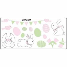 Easter Bunny, Eggs, Flowers Stickers for Windows/Glass/Displays