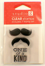One of a Kind Mustache Studio G Clear Cling Rubber Stamp Set