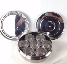 Stainless Steel  Masala Dabba Round Spice Box with 7 Small Containers NWOT