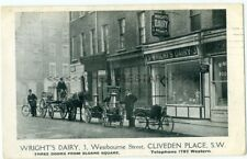WRIGHT'S DAIRY Hand-Carts CLIVEDEN PLACE Sloane Square LONDON SW1 - Advert card