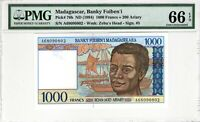 Madagascar 1994 1000 Francs PMG Banknote UNC 66 EPQ Gem Uncirculated Pick 76b 5