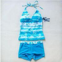 Girls Kids Swimsuit Tankini Bikini Swimwear Bathers Dance Skate Costumes 12-16Y