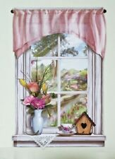 Springtime Window View Flower Bouquet Vase Floral Wall Decal Sticker Decor