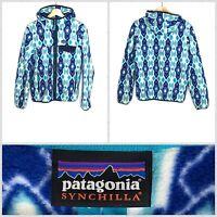 Patagonia Women's Light Blue Full-Zip Hooded Soft Synchilla Fleece Jacket Medium