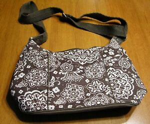 31 Thirty One Free To Be Crossbody shoulder Bag Purse Brown Floral