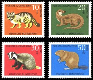 EBS Germany 1968 Youth - Jugend - Rare Animals - Seltene Michel 549-552 MNH**