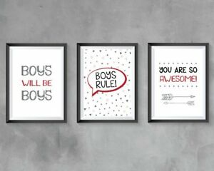 Boys Bedroom Wall Art A4 Prints Boys Rule Quotes Grey Red Black Modern Bedroom